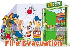 fire evacuation cartoon