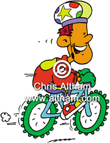 kid on fast mountain bike cartoon
