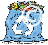 Blue Bag Recycling Cartoon