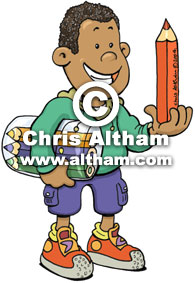Coloured Boy with Pencils Cartoon