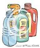 cleaning bottles bleach cartoon