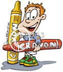 child with Crayons cartoon