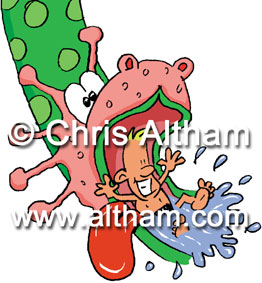 Dragon slide swimming pool cartoon