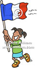 French Flag Waved by Girl Cartoon