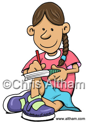 girl writing in a book cartoon