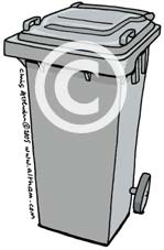 Grey Wheelie Bin Cartoon