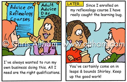 adult learning cartoon strip