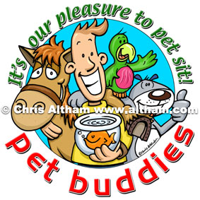 Pet Sitter Cartoon Logo