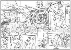school class room cartoon