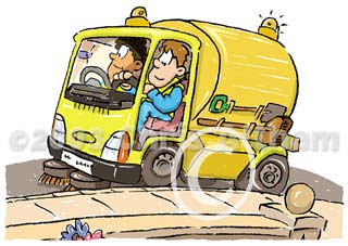 road sweeping cartoon