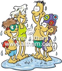 Family at the swimming pool cartoon