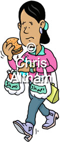 stressed lady rushing shopping eating cartoon